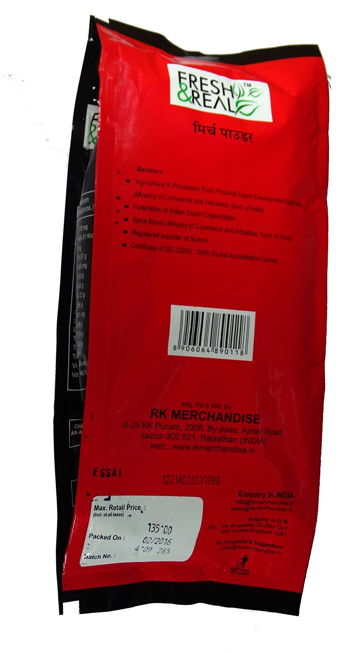 red chilli powder pack