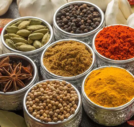 spices in containers
