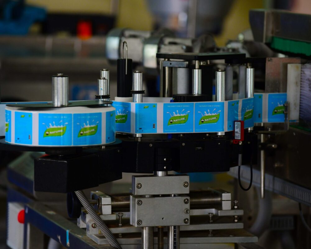 milk packaging and labeling process in factory