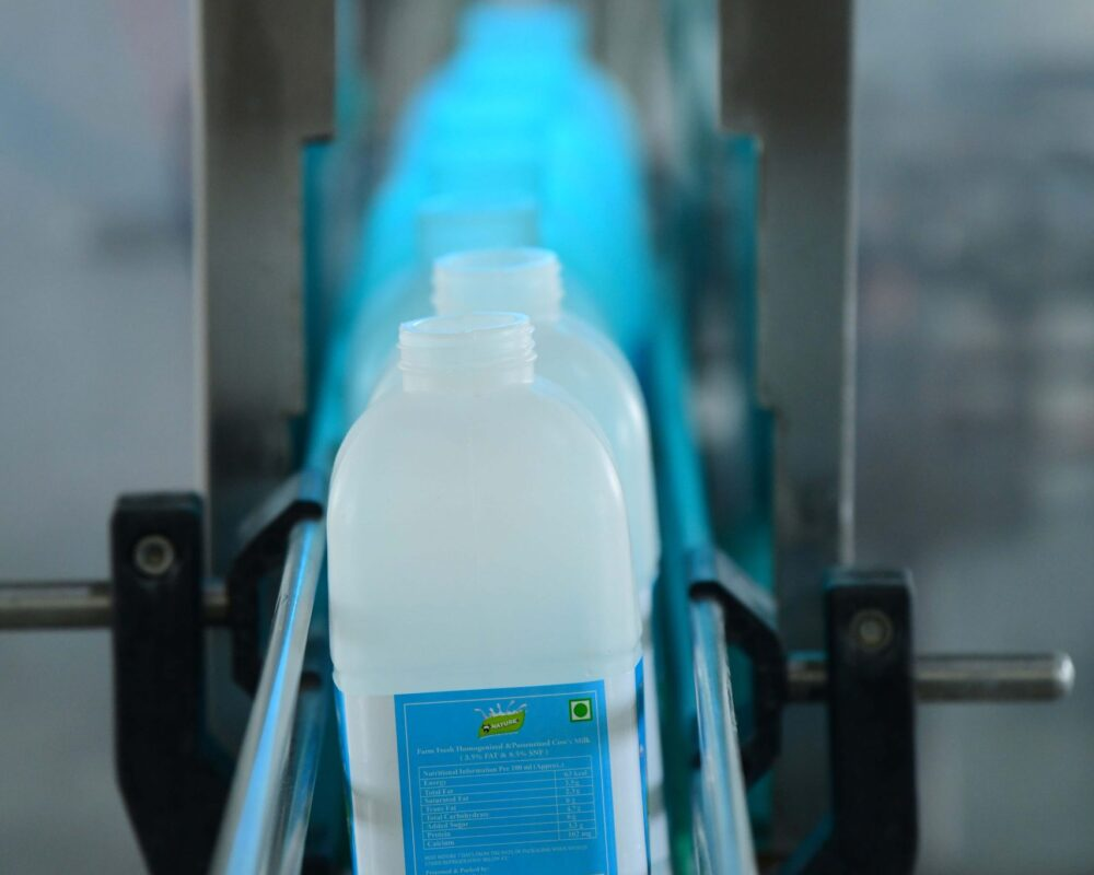 Milk cane packaging process in factory